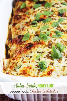 HUSBAND'S FAVORITE RECIPE EVER! Salsa Verde Honey Lime Pepper Jack Chicken Enchiladas - dripping with flavor and so fast and easy!