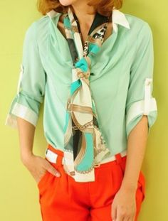 Green Long Sleeve Drawstring Chiffon Shirt