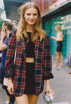 fashion, blazer, crop tops, outfit, jackets, street styles, mini skirts, tartan, coat