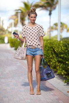 polka dots and jean shorts