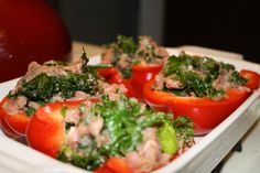 Ground turkey, kale stuffed peppers (paleo)