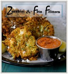 Zucchini and Feta Fritters with Roasted Red Pepper Dip - Bloggy Moms #MeatlessMonday #vegetarian