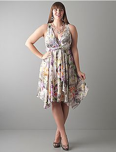 Iris Drama floral prints, spring dresses, uneven hem, big girl, plus size dresses, irises, plus size fashions, rehearsal dinner dresses, lane bryant