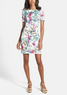 Wearing this floral satin sheath dress on the weekend.