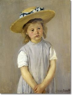 Mary Cassatt --Little Girl in a Big Straw Hat and a Pinafore c.1886 - os 65.3 x 49cm Painting