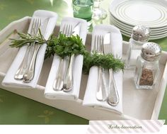 great idea for outdoor elegant party - herbs!