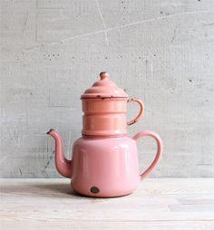 Pink enameled tea kettle