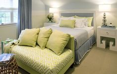 Suzie: Willey Design - Green & blue cozy, chic bedroom design with soft blue & yellow walls ...