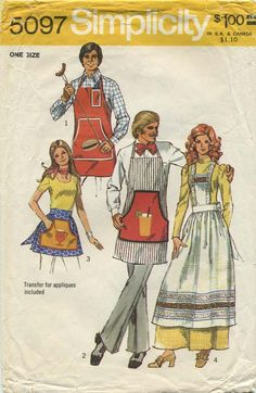 Vintage Apron Sewing Pattern | Simplicity 5097 | Year 1972 | One Size | Includes transfer for Hamburger, Coffee and Iced Tea appliques. vintag apron, apron sew, sew pattern, appliqu, sewing patterns