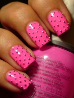 studded pink nails