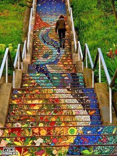 san francisco california, stairway, outdoor steps, heaven, color, street art, place, mosaic tiles, walk