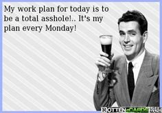 My work plan for today is to be a total asshole!.. It's my  plan every Monday!