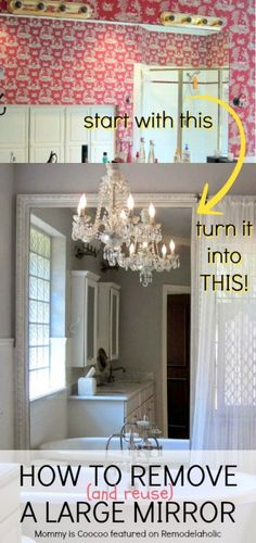 How to Remove (and reuse) a Large Builder Grade Mirror on Remodelaholic.com #diy #bathroom #buildergrade