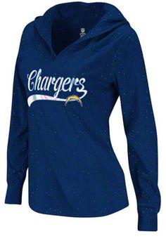 San Diego Chargers Women's Fem Fan Navy Long Sleeve Hooded T-Shirt
