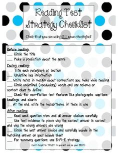 Reading Test Strategies Checklist {Great for STAAR Test Prep!}