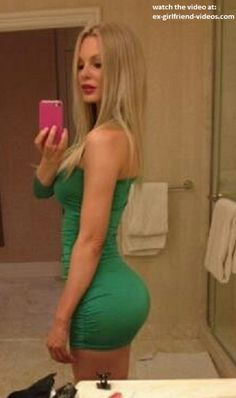 Hot blonde babe sexy tight dress selfshot