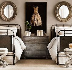 Love the iron beds. A trunk at each end of the bed would be nice also.