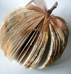 Fall DIY Decor Projects Found Here. Book pumpkins and paper bag flowers.