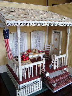 dollhous, room box, roombox, front porches