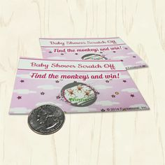 """Baby Shower Scratch Offs. Based on sweet nursery rhymes, players will find the fiddle from """"Hey Diddle Diddle"""" and the mittens from """"3 Little Kittens""""… but only the winner will find the 3 little monkeys! Pink baby shower games."""