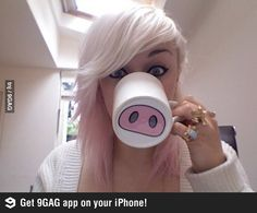 Buy white mugs and paint funny things on them! (Pigs nose, Mustaches, etc...)