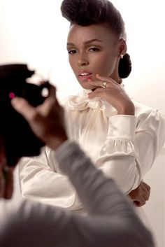Janelle Monae's glamorous look. She's the new face of Covergirl