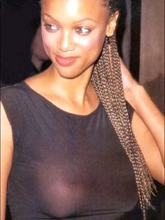 See through No Bra | Tyra Banks wears see-through shirt with no bra underneathHot ...
