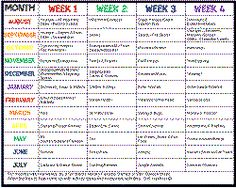 Themes for each week of the school year!