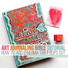 Heather Greenwood Designs | Mixed Media Art Journaling Bible Tutorial: add ephemera that flips out!