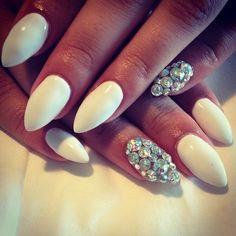 white and diamonds almond nails