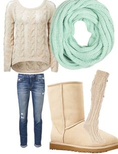 mint color scarf, cable knitted sweater, ripped jeans, boots