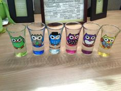 Owl Drink to that 6  2oz Hand painted Owl by MyArtsieCreations, $25.00