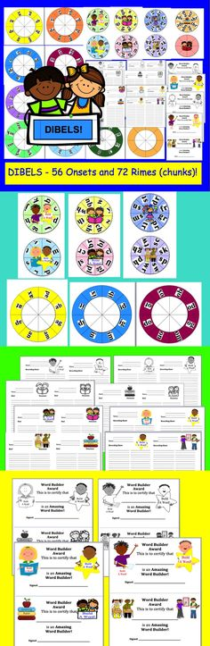 $3.00 Back to School DIBELS Build A Word Wheels – Set 1 – Different Ways To Use and Record – 56 onsets and 72 rimes (chunks) - Make up to 63 Different Combinations of Wheels, so you can make 63 Word Builder Wheels with this set!
