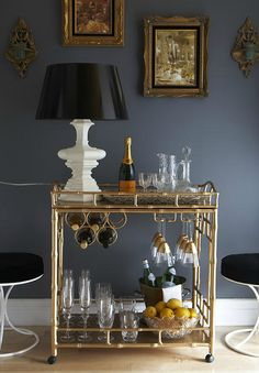 The Decorista - Amazing vignette with gold faux bamboo Society Social Sedgewick Bar ...