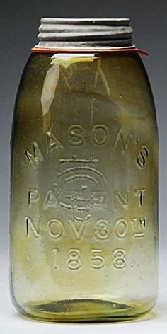 Mason's, Patent Nov 30th 1858, Yellow Green, 9 inchMasons canning or fruit jar marked