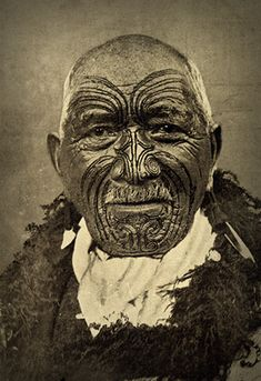 New Zealand | Postcard of Maori moko, 1905.
