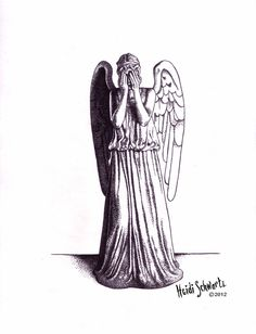 """ORIGINAL ART. 8.5"""" x 11"""". Dotted pen drawing of a Doctor Who Weeping Angel. Don't blink.."""