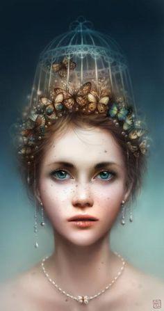 Mujer pintada en photoshop con jaula de mariposas