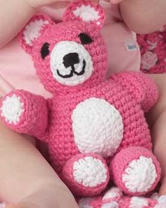 Adorable crochet teddy that looks good enough to eat in the fun colors of Bernat Cottontots.