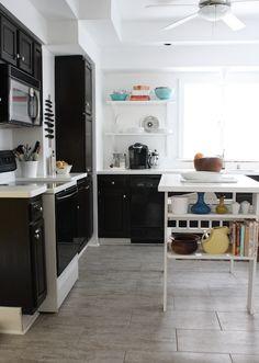 Black and White Kitchen >> http://blog.diynetwork.com/tool-tips/2013/02/25/backsplash-or-no-backsplash/?soc=pinterest#