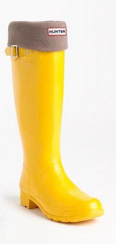 Hunter rain boots in sunny yellow