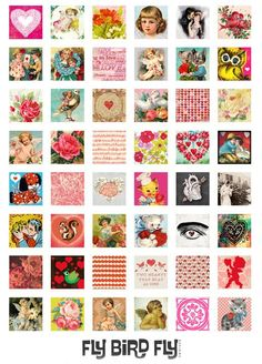 1x1 Inch Squares Digital Collage Print Sheet  by flybirdflydesigns, $3.75