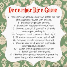 Use Dice as Gift Exchange game and 2 others