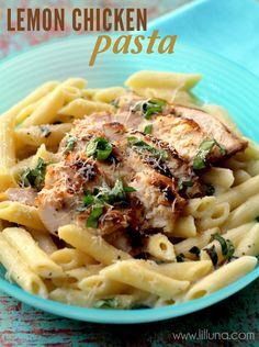 Chicken and Lemon Basil Pasta recipe on { lilluna.com } #chicken