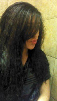 Crimped hair.