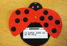 Grouchy Ladybug craft - with writing