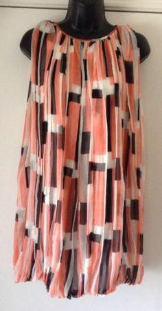 "Marimekko Sami Jussi Koski ""Louis"" 100 Silk Coral White Black Dress Medium | eBay"
