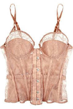 Antique Rose Silk  Carine Gilson's hand-stitched lace boned bustier from here