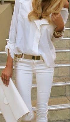 White shirt, white pants, golden belt and white handbag