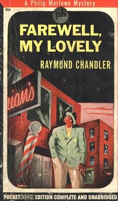 "Original pulp novel book cover for author Raymond Chandler's ""Farewell My Lovely"""